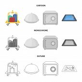Trolley With Luggage, Safe, Swimming Pool, Clutch.hotel Set Collection Icons In Cartoon, Outline, Mo poster