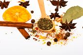 Hot Beverages Spices Kit. Spices Kit For Preparing Mulled Wine Or Hot Beverage, Close Up. Spoon With poster