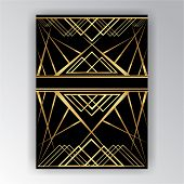 Art Deco ,art Novo Page  Template  Luxury Elegante Texture Geometric Style, Gatsby Concept, Golden B poster