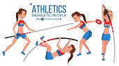 Athletics Female Player Vector. Playing In Different Poses. Woman. Athlete Isolated On White Cartoon poster