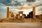 Sunrise In Persepolis, Capital Of The Ancient Achaemenid Kingdom. Ancient Columns. Sight Of Iran. An poster
