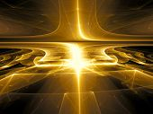 Golden Background - Abstract Computer-generated Image. Fractal Art - Glossy Surface With Stripes And poster