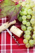 Wine Cork, Corkscrew and green grape