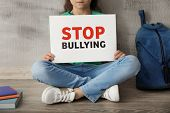 Little girl sitting on floor and holding sign with words Stop bullying near grey wall poster