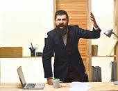 Angry Businessman Screaming. Portrait Of Bearded Businessman. Angry Businessman In Suit. Businessman poster