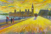 Big Ben Clock- Street View In London Red Bus Traditional Old At England. Oil Painting Landscape Beau poster