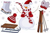 stock photo of toboggan  - Winter sport and leisure icons with snowman - JPG