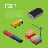 Freight Shipment Isometric Banner Illustration. Commercial Truck Loading, Warehouse Building, Freigh poster