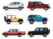 Modern City Car Set. Hatchback, Universal, Pick Up, Van, Off Road Truck, Suv Isolated Illustration O poster