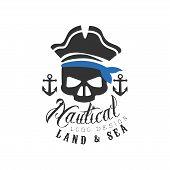 Nautical Logo Design, Land And Sea Retro Emblem With Marine Elements For Nautical School, Sport Club poster