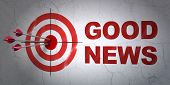 Success News Concept: Arrows Hitting The Center Of Target, Red Good News On Wall Background, 3d Rend poster