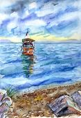 The Old Yacht On The Sea By The Shore, Watercolor Drawing. Seascape, Turkey. poster