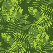 Shabby Jungle Camouflage Seamless Pattern. Geometric Sophisticated Leaves Endless Repeatable Motif F poster