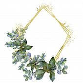Boxwood Leaves In A Watercolor Style.frame Border Ornament Square.  Aquarelle Leaf For Background, T poster