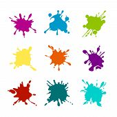 Paint Splashes Of Various Colors. Splash Paint, Stain And Blot, Blob Various Colored. Vector Illustr poster