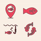 Set Fish, Location Fishing, Fish And Fishing Hook Under Water With Fish Icon. Vector poster