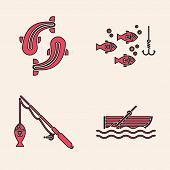 Set Fishing Boat With Oars On Water, Fish, Fishing Hook Under Water With Fish And Fishing Rod And Fi poster