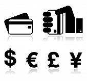 stock photo of yen  - Black glossy icons - JPG