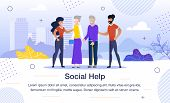 Social Help For Aged People, Volunteer Team Work Trendy Flat Vector Banner, Poster Template. African poster