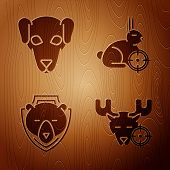 Set Hunt On Moose With Crosshairs, Hunting Dog, Bear Head On Shield And Hunt On Rabbit With Crosshai poster