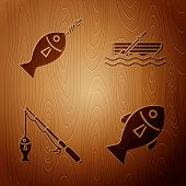 Set Fish, Fish On Hook, Fishing Rod And Fish And Fishing Boat With Oars On Water On Wooden Backgroun poster