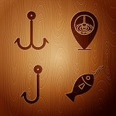 Set Fish On Hook, Fishing Hook, Fishing Hook And Location Fishing On Wooden Background. Vector poster