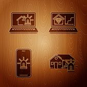Set Smart House And Alarm, Laptop With Smart House And Alarm, Mobile Phone With Smart House And Alar poster