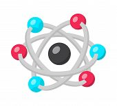 Atom Structure Model Flat Vector Illustration. Nuclear Energy, Quantum Physics, Modern Science Symbo poster