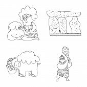Vector Illustration Of Primitive And Archeology Icon. Collection Of Primitive And History Stock Symb poster