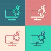 Color Line Computer Monitor With Screwdriver And Wrench Icon Isolated On Color Background. Adjusting poster