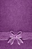 Elegant Shiny Lilac Glitter Bow On Lilac Colored Ribbon And On Lilac Burlap. Vertical Greeting Card  poster