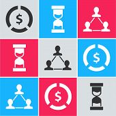 Set Coin Money With Dollar Symbol, Old Hourglass With Flowing Sand And Project Team Base Icon. Vecto poster