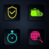 Set Magnifying Glass With Globe, Shield With Check Mark, Stopwatch And Wallet With Coins. Black Squa poster