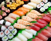 Sushi arranged diagonally