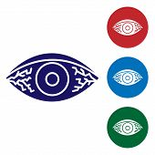Blue Reddish Eye Due To Viral, Bacterial Or Allergic Conjunctivitis Icon Isolated On White Backgroun poster