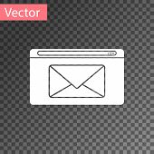 White Mail And E-mail Icon Isolated On Transparent Background. Envelope Symbol E-mail. Email Message poster