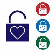 Blue Lock And Heart Icon Isolated On White Background. Locked Heart. Love Symbol And Keyhole Sign. V poster