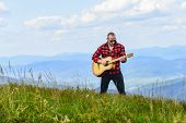 Your Favorite Radio. Western Camping And Hiking. Happy And Free. Cowboy Man With Acoustic Guitar Pla poster