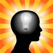 Idea Woman Mind Lightbulb In Silhouette Head On Rays Background.Eps
