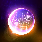 image of jawi  - Vector Mosque over the Ramadan Crescent Translation of Malay Text - JPG