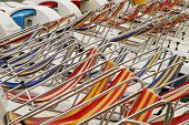 Row Of Colorful Chaise Lounge On Beach. Multicolored In A Row. poster