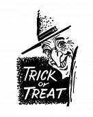 Trick Or Treat bruxa - retrô de Clipart de Banner