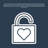 Blue Line Lock And Heart Icon Isolated On Blue Background. Locked Heart. Love Symbol And Keyhole Sig poster