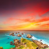 Nugget point. Coastal view at sunset