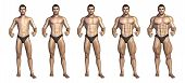 foto of bodybuilder  - Chart depicting a bodybuilder gaining muscle mass over time  - JPG