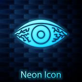 Glowing Neon Reddish Eye Due To Viral, Bacterial Or Allergic Conjunctivitis Icon Isolated On Brick W poster