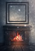 Dark Room With Brick Walls. Room Interior With Fireplace And A Large Magic Mirror. Wooden Fireplace, poster