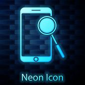 Glowing Neon Mobile Phone Diagnostics Icon Isolated On Brick Wall Background. Adjusting App, Service poster