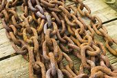 Bunch Of Rusting Steel Chains