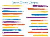 Vintage Violet Ink Brush Stroke Stripes Vector Set, Horizontal Marker Or Paintbrush Lines Patch. Han poster